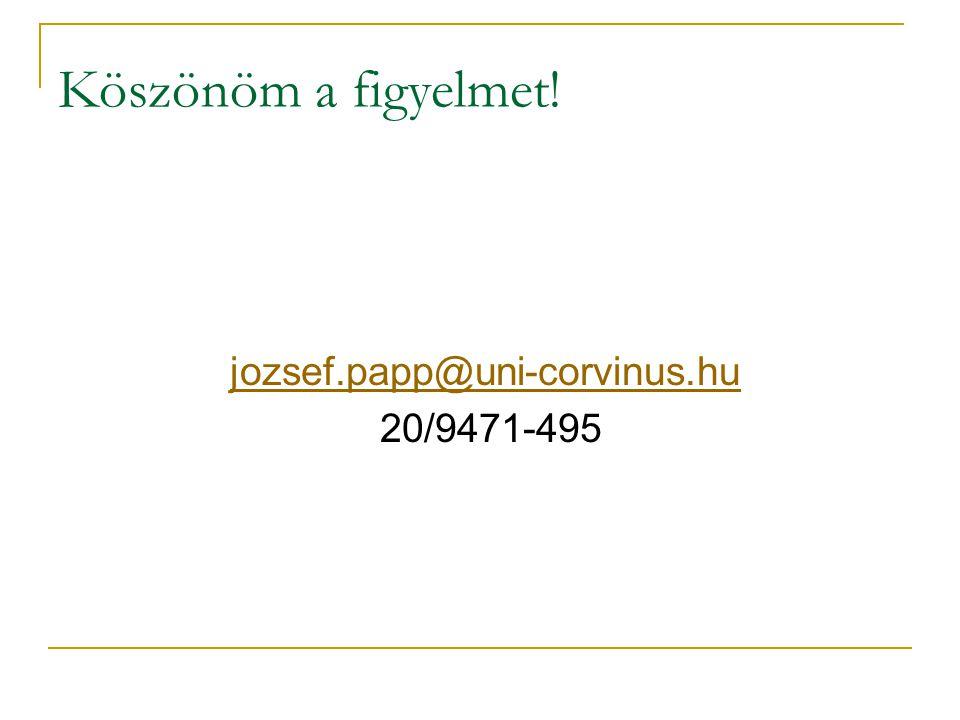 Köszönöm a figyelmet! jozsef.papp@uni-corvinus.hu 20/9471-495