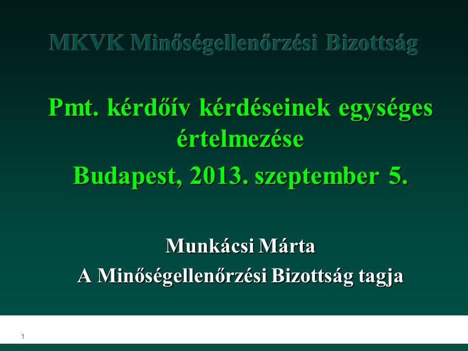 1 Pmt.kérdőív kérdéseinek egységes értelmezése Budapest, 2013.