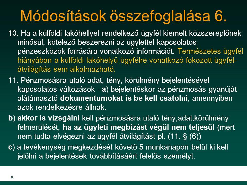 Módosítások összefoglalása 6.10.