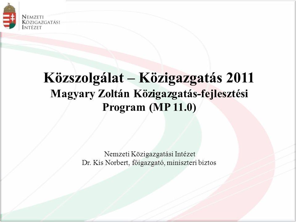 Közszolgálat – Közigazgatás 2011 Magyary Zoltán Közigazgatás-fejlesztési Program (MP 11.0) Nemzeti Közigazgatási Intézet Dr.