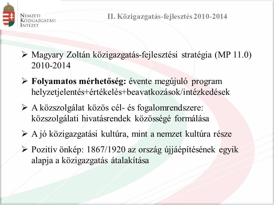 Magyary Zoltán közigazgatás-fejlesztési stratégia (MP 11.0) 2010-2014  Folyamatos mérhetőség: évente megújuló program helyzetjelentés+értékelés+beavatkozások/intézkedések  A közszolgálat közös cél- és fogalomrendszere: közszolgálati hivatásrendek közösségé formálása  A jó közigazgatási kultúra, mint a nemzet kultúra része  Pozitív önkép: 1867/1920 az ország újjáépítésének egyik alapja a közigazgatás átalakítása II.
