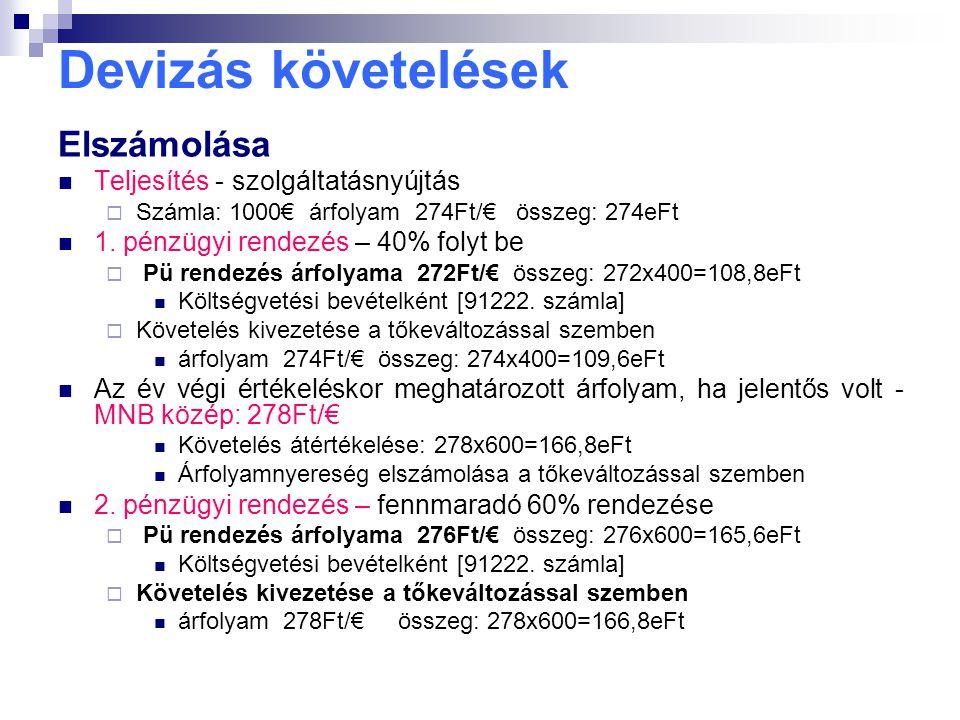 Devizás követelések Elszámolása Teljesítés - szolgáltatásnyújtás  Számla: 1000€ árfolyam 274Ft/€ összeg: 274eFt 1. pénzügyi rendezés – 40% folyt be 