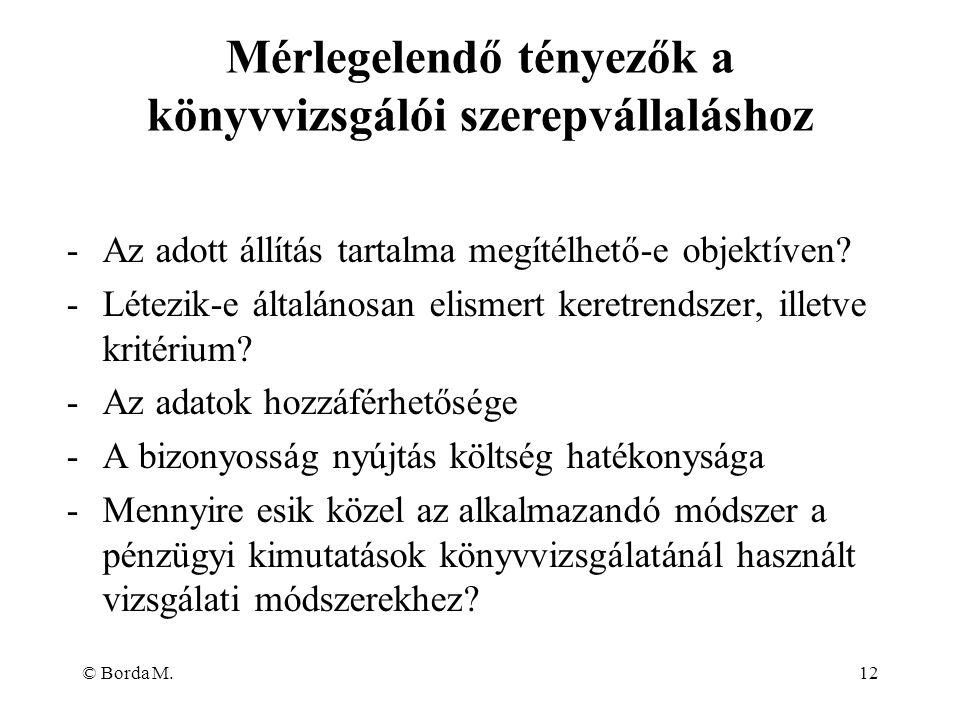 © Borda M.12 -Az adott állítás tartalma megítélhető-e objektíven? -Létezik-e általánosan elismert keretrendszer, illetve kritérium? -Az adatok hozzáfé