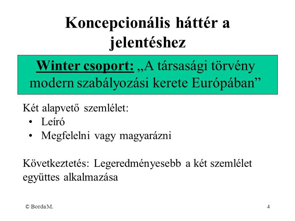 """© Borda M.4 Winter csoport: """"A társasági törvény modern szabályozási kerete Európában"""" Koncepcionális háttér a jelentéshez Két alapvető szemlélet: Leí"""