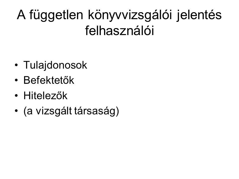 A könyvvizsgáló felelőssége, hogy munkáját a magyar Nemzeti Könyvvizsgálati Standardok szerint végezze.