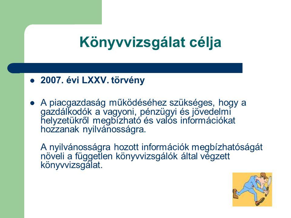 Könyvvizsgálat célja 2007. évi LXXV. törvény A piacgazdaság működéséhez szükséges, hogy a gazdálkodók a vagyoni, pénzügyi és jövedelmi helyzetükről me