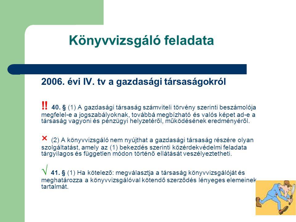 Könyvvizsgáló feladata 2006. évi IV. tv a gazdasági társaságokról ‼ 40. § (1) A gazdasági társaság számviteli törvény szerinti beszámolója megfelel-e