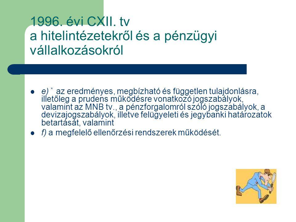 1996. évi CXII. tv a hitelintézetekről és a pénzügyi vállalkozásokról e) * az eredményes, megbízható és független tulajdonlásra, illetőleg a prudens m