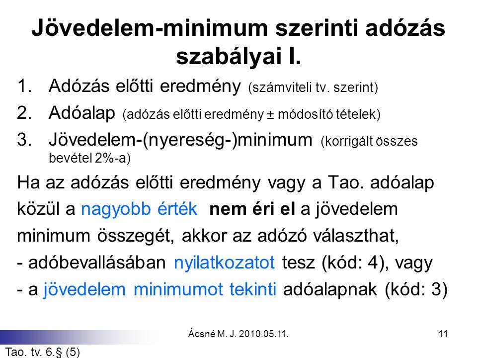 Ácsné M. J. 2010.05.11.11 Jövedelem-minimum szerinti adózás szabályai I. 1.Adózás előtti eredmény (számviteli tv. szerint) 2.Adóalap (adózás előtti er