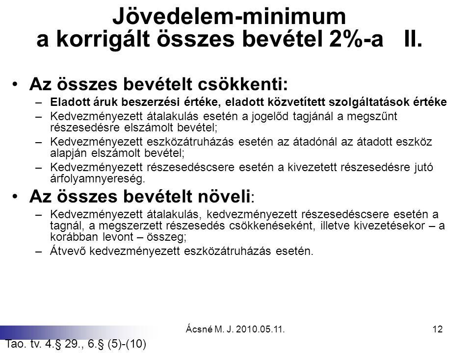 Ácsné M. J. 2010.05.11.12 Jövedelem-minimum a korrigált összes bevétel 2%-a II. Az összes bevételt csökkenti: –Eladott áruk beszerzési értéke, eladott