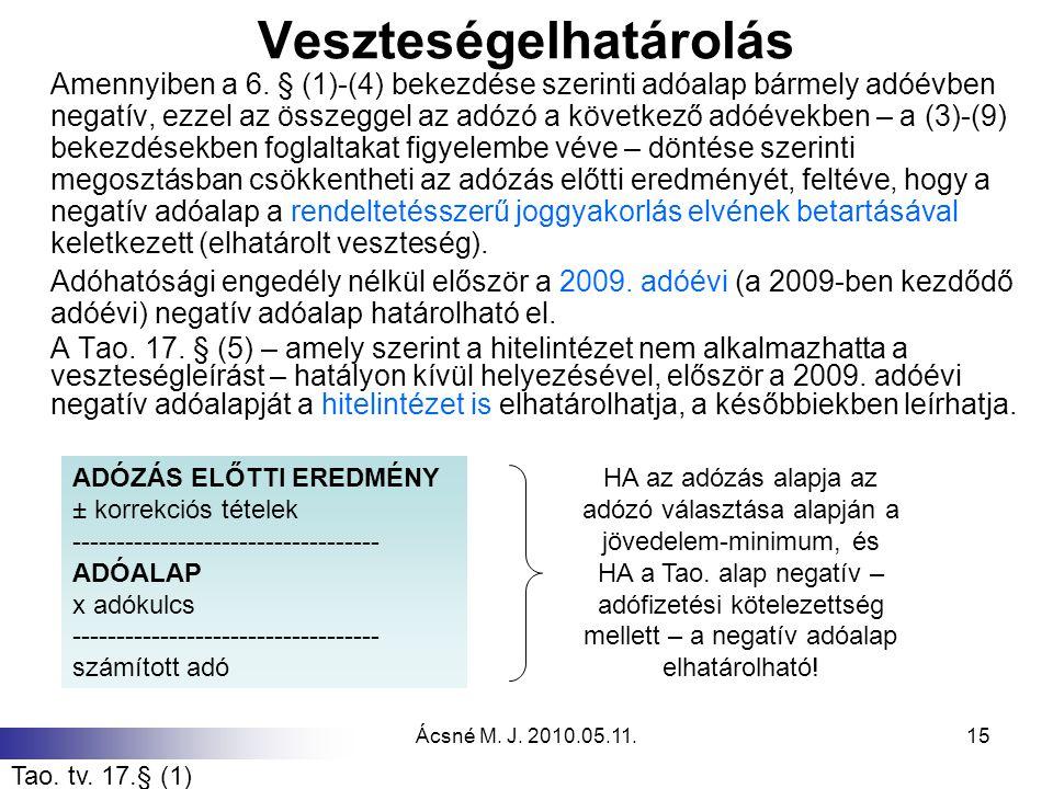 Ácsné M. J. 2010.05.11.15 Veszteségelhatárolás Amennyiben a 6. § (1)-(4) bekezdése szerinti adóalap bármely adóévben negatív, ezzel az összeggel az ad