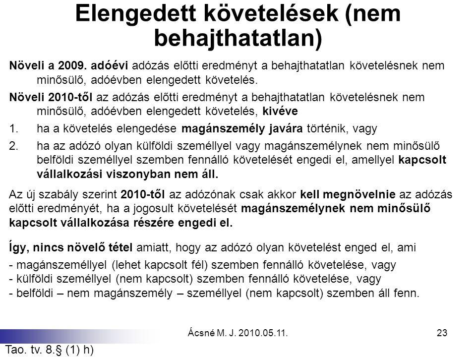 Ácsné M. J. 2010.05.11.23 Elengedett követelések (nem behajthatatlan) Növeli a 2009. adóévi adózás előtti eredményt a behajthatatlan követelésnek nem