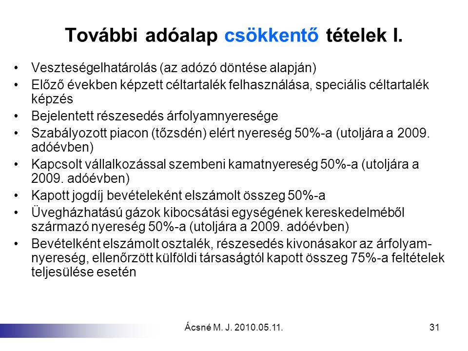 Ácsné M. J. 2010.05.11.31 További adóalap csökkentő tételek I. Veszteségelhatárolás (az adózó döntése alapján) Előző években képzett céltartalék felha