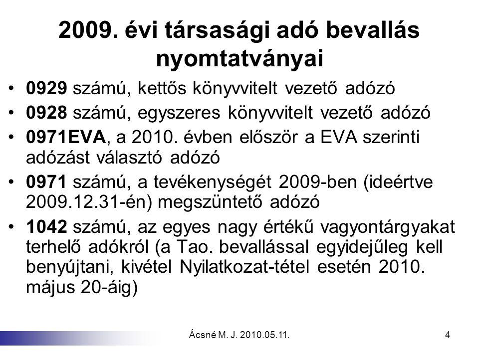Ácsné M. J. 2010.05.11.4 2009. évi társasági adó bevallás nyomtatványai 0929 számú, kettős könyvvitelt vezető adózó 0928 számú, egyszeres könyvvitelt