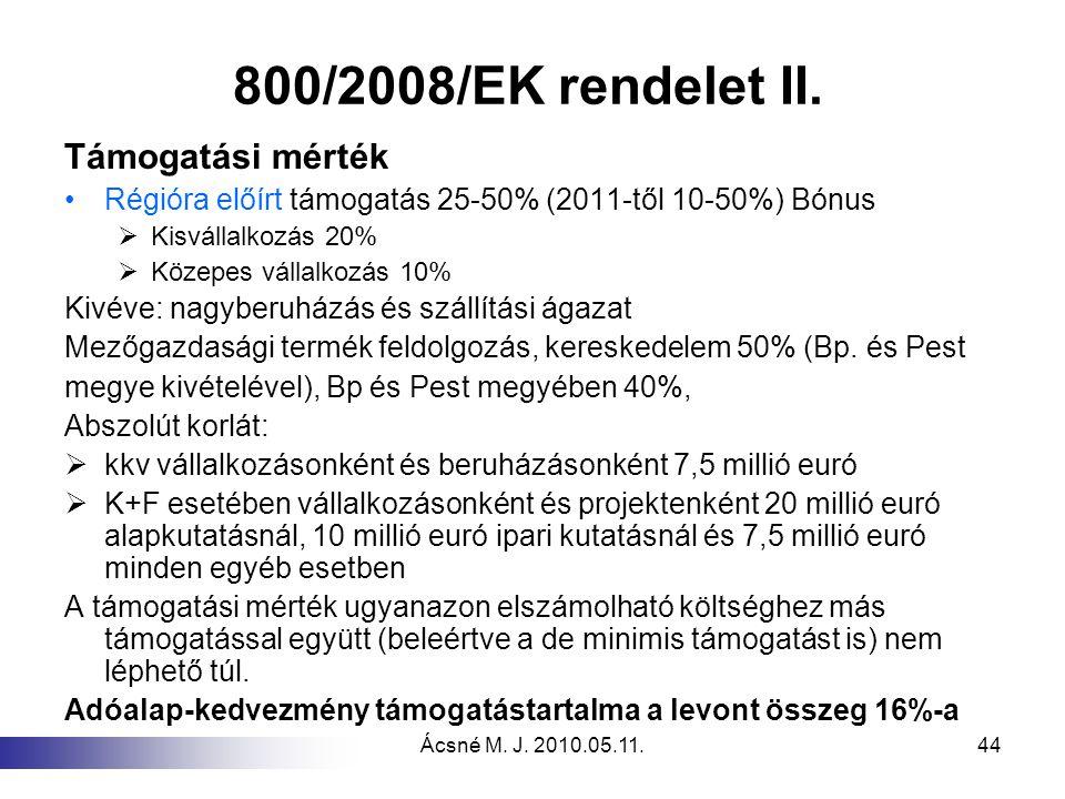 Ácsné M. J. 2010.05.11.44 800/2008/EK rendelet II. Támogatási mérték Régióra előírt támogatás 25-50% (2011-től 10-50%) Bónus  Kisvállalkozás 20%  Kö