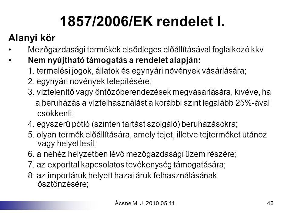 Ácsné M. J. 2010.05.11.46 1857/2006/EK rendelet I. Alanyi kör Mezőgazdasági termékek elsődleges előállításával foglalkozó kkv Nem nyújtható támogatás