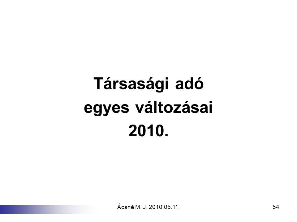 Ácsné M. J. 2010.05.11.54 Társasági adó egyes változásai 2010.
