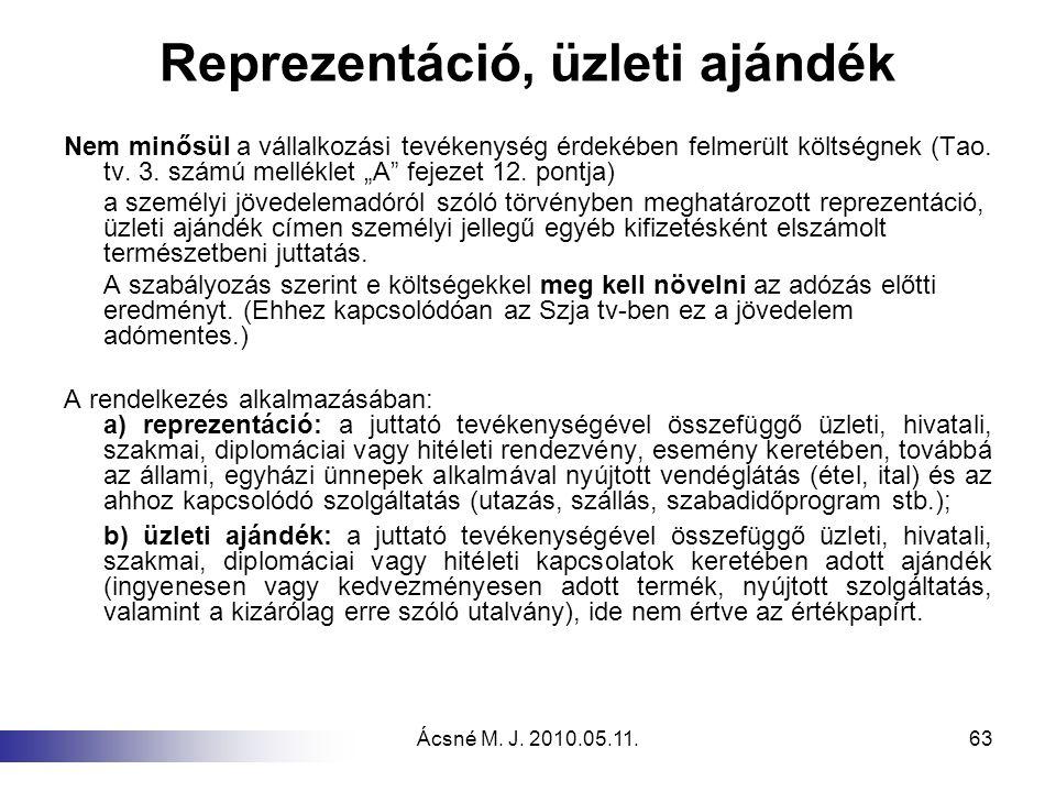 Ácsné M. J. 2010.05.11.63 Reprezentáció, üzleti ajándék Nem minősül a vállalkozási tevékenység érdekében felmerült költségnek (Tao. tv. 3. számú mellé