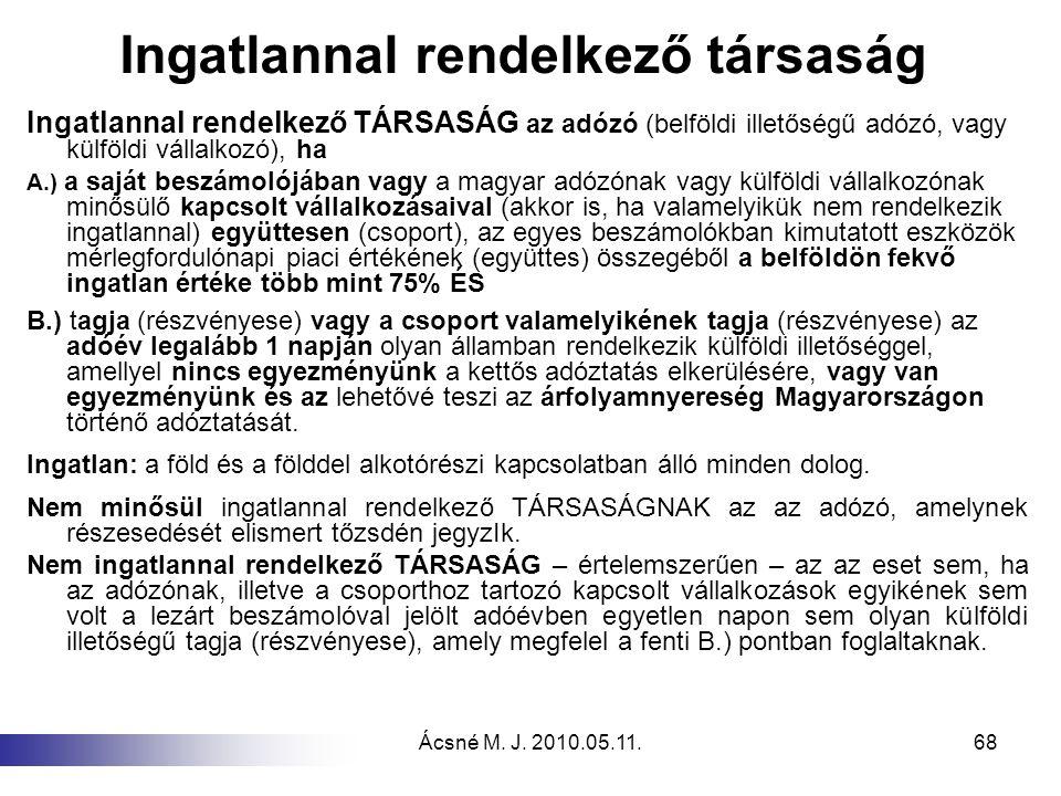 Ácsné M. J. 2010.05.11.68 Ingatlannal rendelkező társaság Ingatlannal rendelkező TÁRSASÁG az adózó (belföldi illetőségű adózó, vagy külföldi vállalkoz