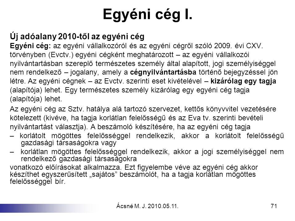 Ácsné M. J. 2010.05.11.71 Egyéni cég I. Új adóalany 2010-től az egyéni cég Egyéni cég: az egyéni vállalkozóról és az egyéni cégről szóló 2009. évi CXV