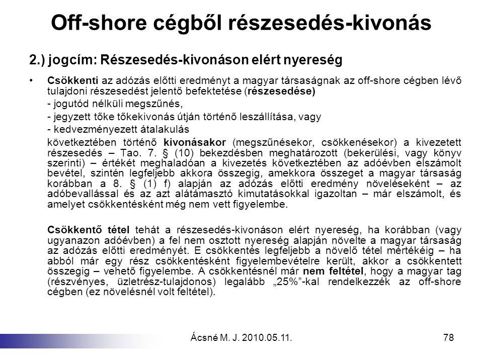 Ácsné M. J. 2010.05.11.78 Off-shore cégből részesedés-kivonás 2.) jogcím: Részesedés-kivonáson elért nyereség Csökkenti az adózás előtti eredményt a m