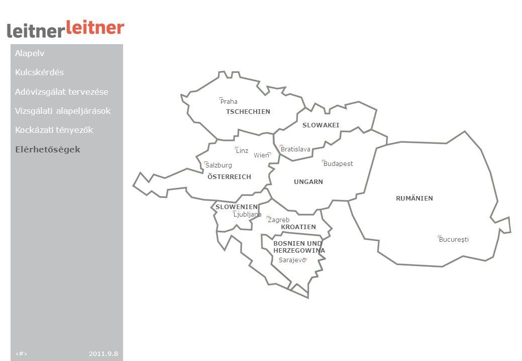 152011.9.8 TSCHECHIEN Praha ┐ SLOWAKEI Bratislava ┐ UNGARN Budapest ┐ RUMÄNIEN Bucureşti ┐ ÖSTERREICH Salzburg Linz Wien ┐ ┐ ┌ SLOWENIEN Ljubljana ┐ K