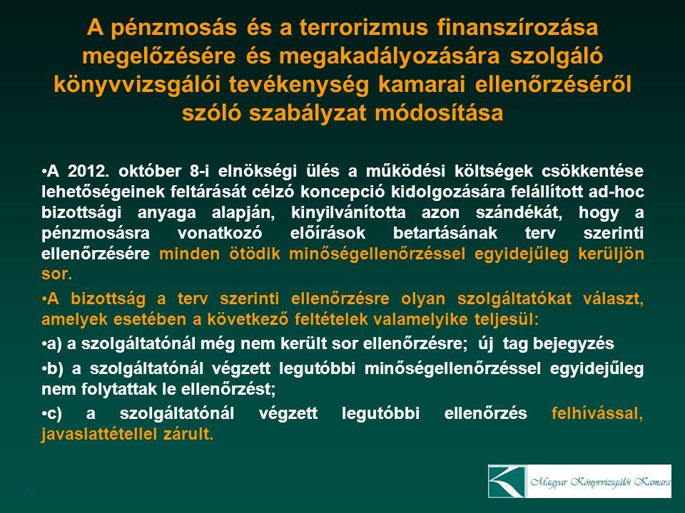 A pénzmosás és a terrorizmus finanszírozása megelőzésére és megakadályozására szolgáló könyvvizsgálói tevékenység kamarai ellenőrzéséről szóló szabályzat módosítása A 2012.