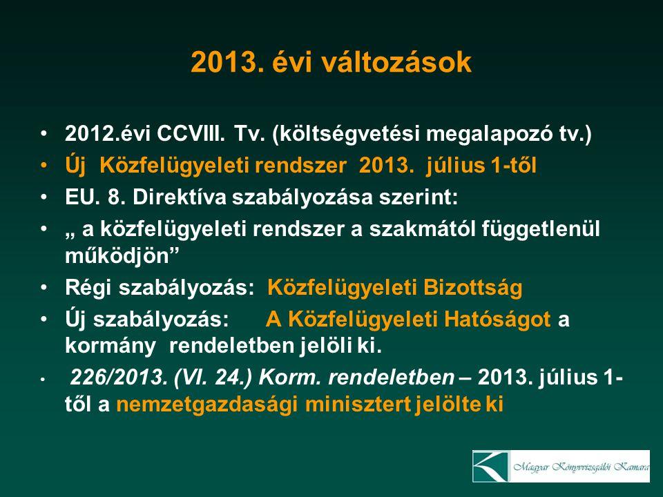 2013. évi változások 2012.évi CCVIII. Tv.