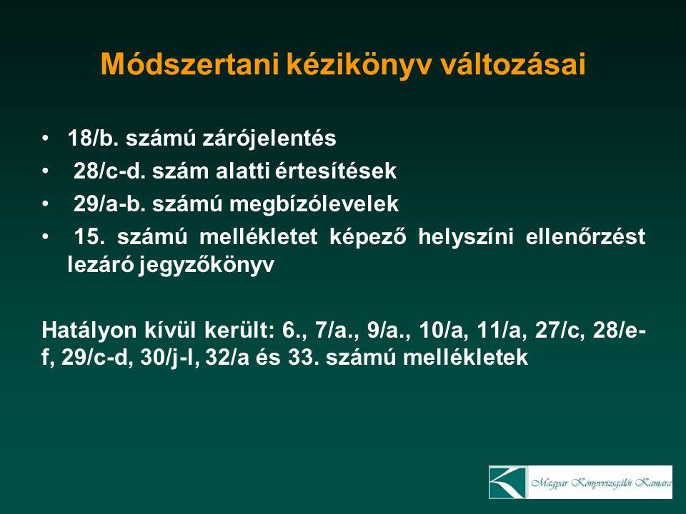 Módszertani kézikönyv változásai 18/b. számú zárójelentés 28/c-d.