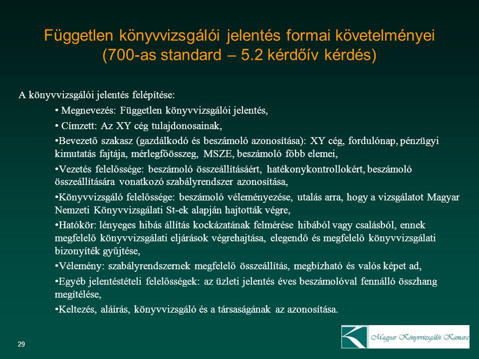 Független könyvvizsgálói jelentés formai követelményei (700-as standard – 5.2 kérdőív kérdés) A könyvvizsgálói jelentés felépítése: Megnevezés: Függet