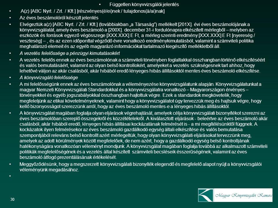 Független könyvvizsgálói jelentés A(z) [ABC Nyrt. / Zrt. / Kft.] [részvényes(é/ei)nek / tulajdonos(á/ai)nak] Az éves beszámolóról készült jelentés Elv