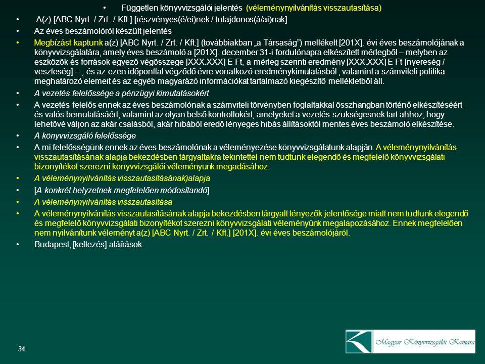 Független könyvvizsgálói jelentés (véleménynyilvánítás visszautasítása) A(z) [ABC Nyrt. / Zrt. / Kft.] [részvényes(é/ei)nek / tulajdonos(á/ai)nak] Az