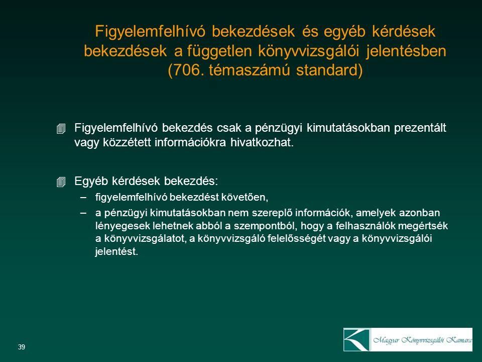 Figyelemfelhívó bekezdések és egyéb kérdések bekezdések a független könyvvizsgálói jelentésben (706. témaszámú standard) 4 Figyelemfelhívó bekezdés cs