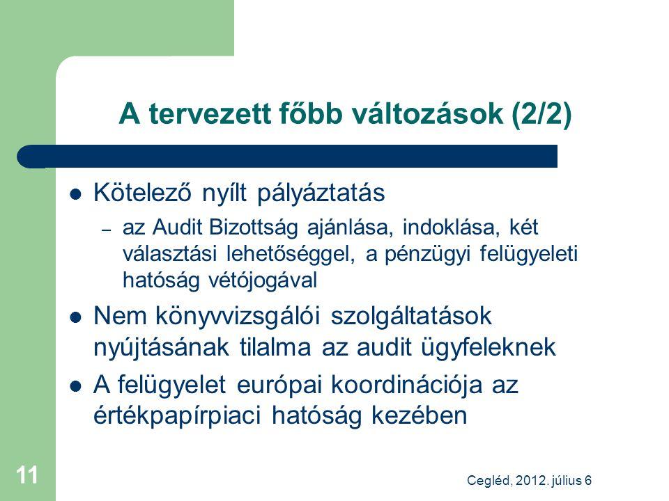 A tervezett főbb változások (2/2) Kötelező nyílt pályáztatás – az Audit Bizottság ajánlása, indoklása, két választási lehetőséggel, a pénzügyi felügyeleti hatóság vétójogával Nem könyvvizsgálói szolgáltatások nyújtásának tilalma az audit ügyfeleknek A felügyelet európai koordinációja az értékpapírpiaci hatóság kezében Cegléd, 2012.