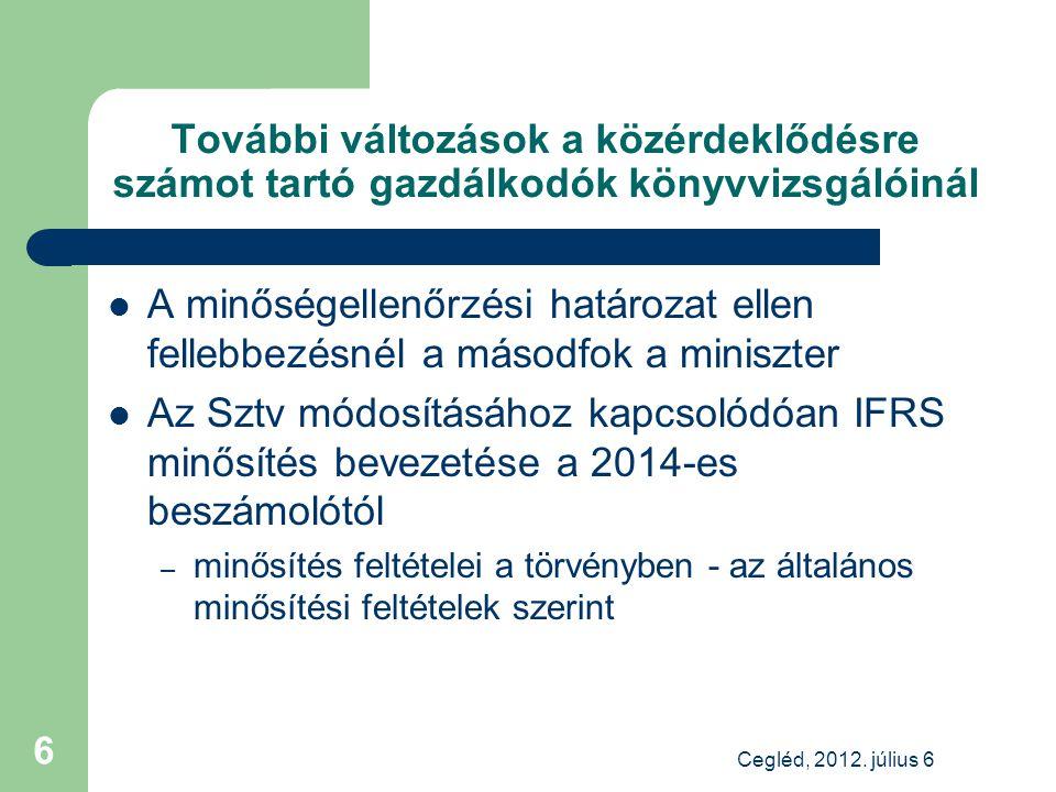 További változások a közérdeklődésre számot tartó gazdálkodók könyvvizsgálóinál A minőségellenőrzési határozat ellen fellebbezésnél a másodfok a miniszter Az Sztv módosításához kapcsolódóan IFRS minősítés bevezetése a 2014-es beszámolótól – minősítés feltételei a törvényben - az általános minősítési feltételek szerint Cegléd, 2012.