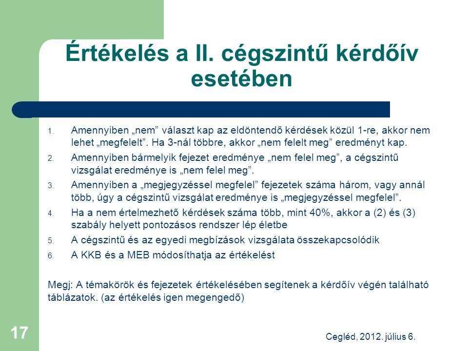 Értékelés a II. cégszintű kérdőív esetében Cegléd, 2012.
