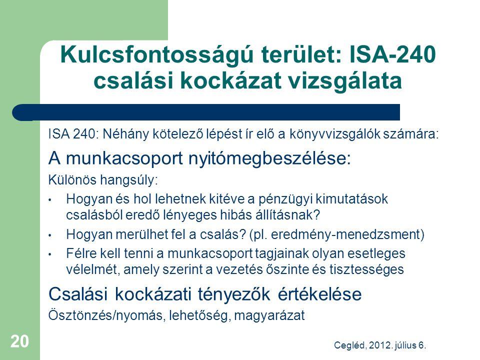 Kulcsfontosságú terület: ISA-240 csalási kockázat vizsgálata ISA 240: Néhány kötelező lépést ír elő a könyvvizsgálók számára: A munkacsoport nyitómegbeszélése: Különös hangsúly: Hogyan és hol lehetnek kitéve a pénzügyi kimutatások csalásból eredő lényeges hibás állításnak.