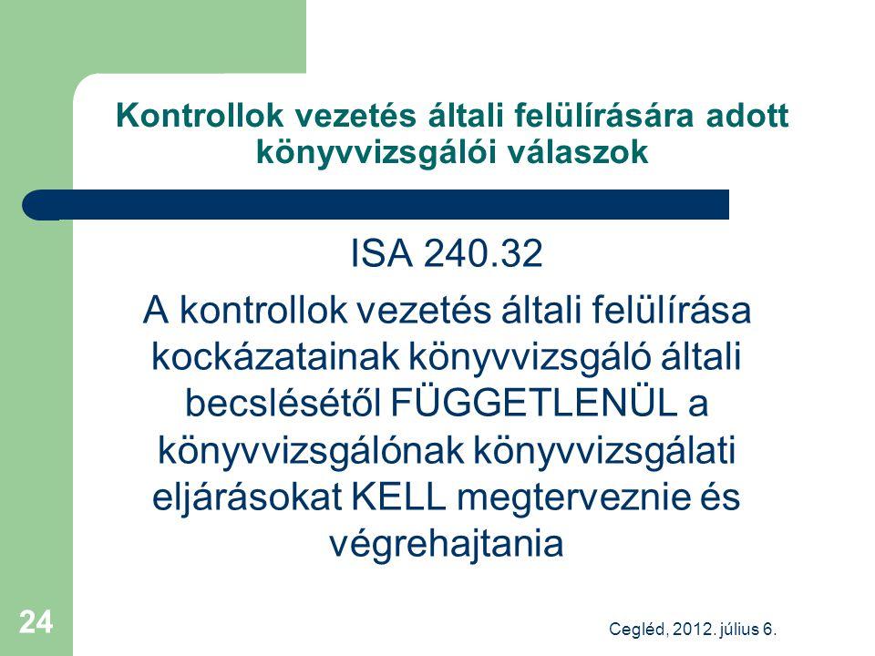 Kontrollok vezetés általi felülírására adott könyvvizsgálói válaszok ISA 240.32 A kontrollok vezetés általi felülírása kockázatainak könyvvizsgáló általi becslésétől FÜGGETLENÜL a könyvvizsgálónak könyvvizsgálati eljárásokat KELL megterveznie és végrehajtania Cegléd, 2012.