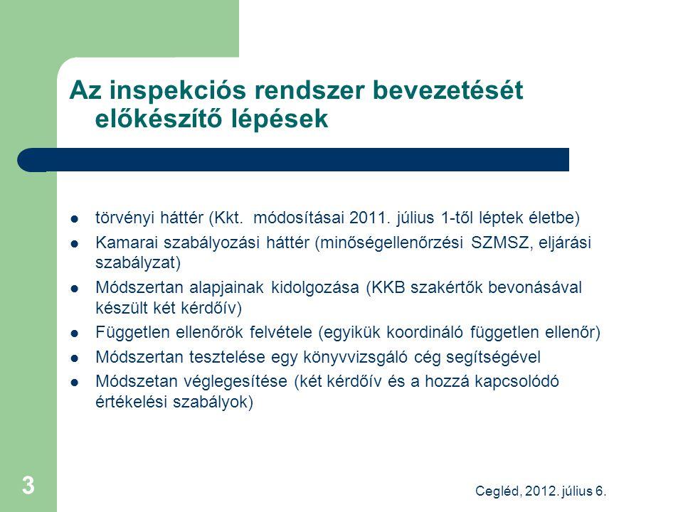 Az inspekciós rendszer bevezetését előkészítő lépések törvényi háttér (Kkt.