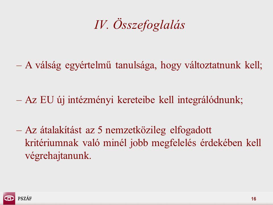 16 IV. Összefoglalás –A válság egyértelmű tanulsága, hogy változtatnunk kell; –Az EU új intézményi kereteibe kell integrálódnunk; –Az átalakítást az 5