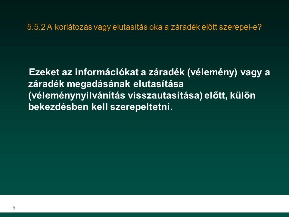 10 5.6 A minőségvizsgálat során megismert dokumentumok (bizonyítékok) alátámasztják-e a könyvvizsgálói jelentésben foglaltakat (megfelelő-e a záradék).