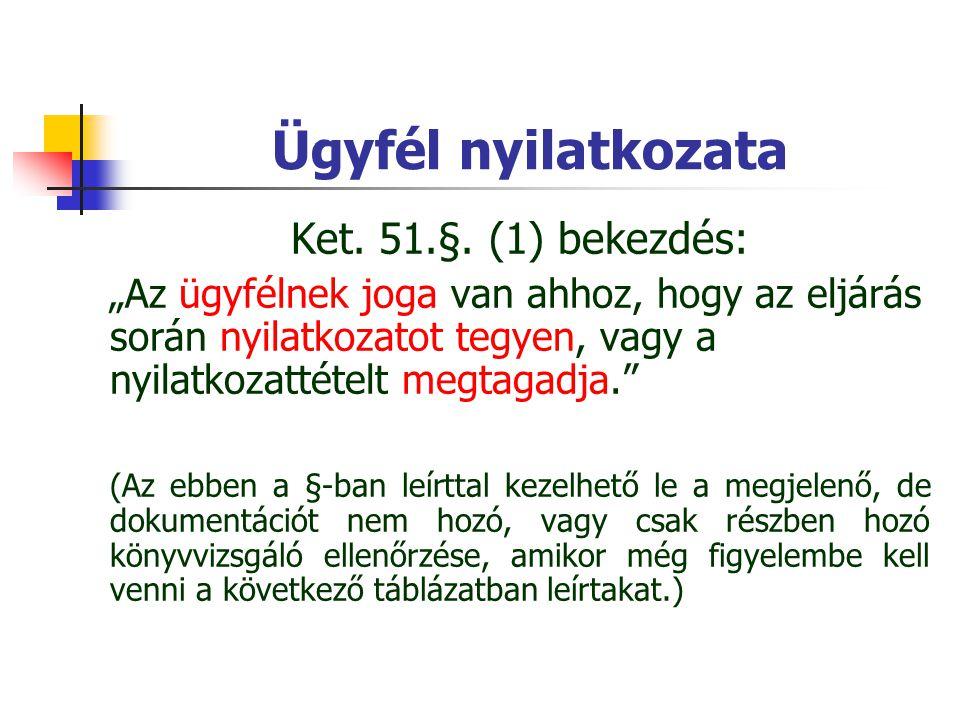 """Ügyfél nyilatkozata Ket. 51.§. (1) bekezdés: """"Az ügyfélnek joga van ahhoz, hogy az eljárás során nyilatkozatot tegyen, vagy a nyilatkozattételt megtag"""