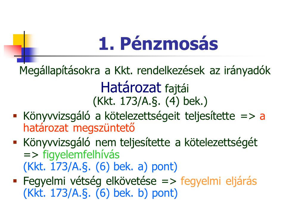 1. Pénzmosás Megállapításokra a Kkt. rendelkezések az irányadók Határozat fajtái (Kkt. 173/A.§. (4) bek.)  Könyvvizsgáló a kötelezettségeit teljesíte