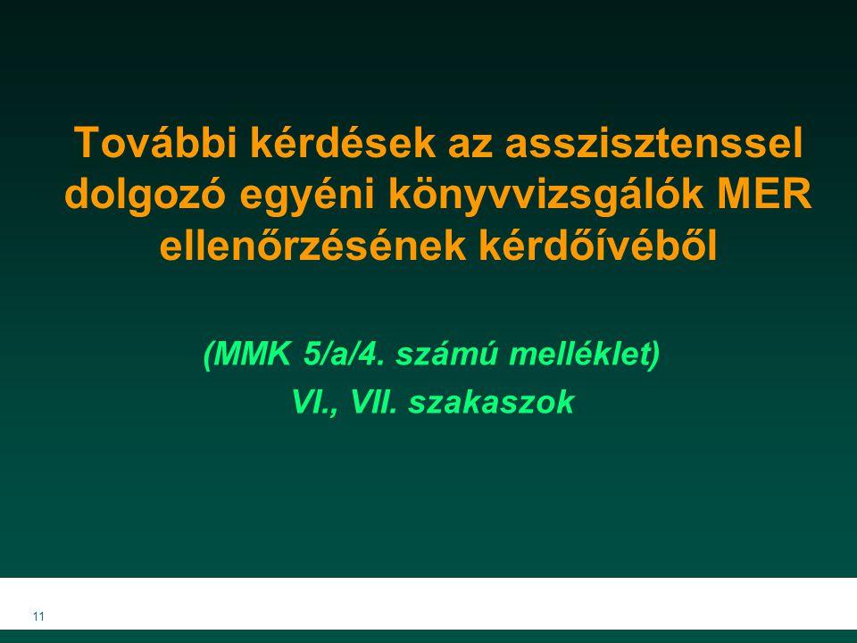 További kérdések az asszisztenssel dolgozó egyéni könyvvizsgálók MER ellenőrzésének kérdőívéből (MMK 5/a/4. számú melléklet) VI., VII. szakaszok 11
