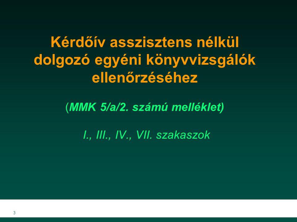 Kérdőív asszisztens nélkül dolgozó egyéni könyvvizsgálók ellenőrzéséhez (MMK 5/a/2. számú melléklet) I., III., IV., VII. szakaszok 3