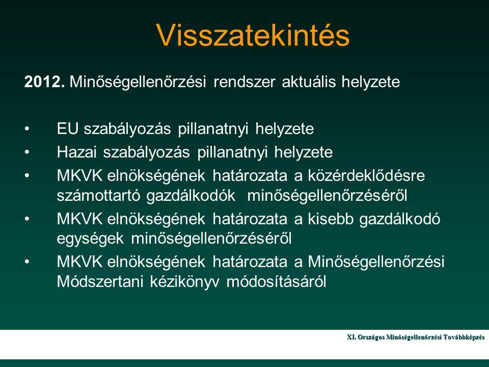 X. Országos Minőségellenőrzési Továbbképzés 3 Visszatekintés 2012.