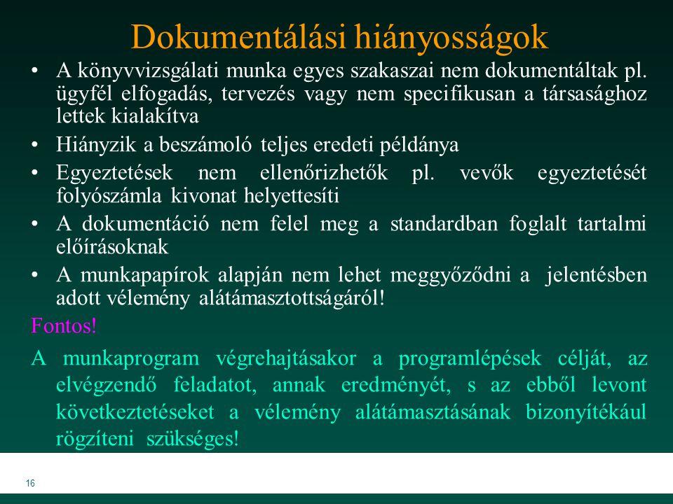 MKVK MEB 2007 16 Dokumentálási hiányosságok A könyvvizsgálati munka egyes szakaszai nem dokumentáltak pl.