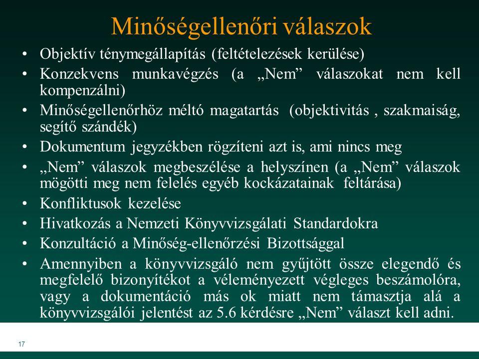 """MKVK MEB 2007 17 Minőségellenőri válaszok Objektív ténymegállapítás (feltételezések kerülése) Konzekvens munkavégzés (a """"Nem válaszokat nem kell kompenzálni) Minőségellenőrhöz méltó magatartás (objektivitás, szakmaiság, segítő szándék) Dokumentum jegyzékben rögzíteni azt is, ami nincs meg """"Nem válaszok megbeszélése a helyszínen (a """"Nem válaszok mögötti meg nem felelés egyéb kockázatainak feltárása) Konfliktusok kezelése Hivatkozás a Nemzeti Könyvvizsgálati Standardokra Konzultáció a Minőség-ellenőrzési Bizottsággal Amennyiben a könyvvizsgáló nem gyűjtött össze elegendő és megfelelő bizonyítékot a véleményezett végleges beszámolóra, vagy a dokumentáció más ok miatt nem támasztja alá a könyvvizsgálói jelentést az 5.6 kérdésre """"Nem választ kell adni."""