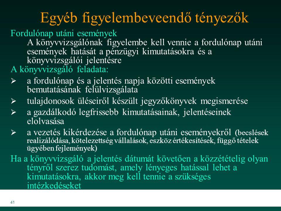 MKVK MEB 2007 41 Egyéb figyelembeveendő tényezők Fordulónap utáni események A könyvvizsgálónak figyelembe kell vennie a fordulónap utáni események hatását a pénzügyi kimutatásokra és a könyvvizsgálói jelentésre A könyvvizsgáló feladata:  a fordulónap és a jelentés napja közötti események bemutatásának felülvizsgálata  tulajdonosok üléseiről készült jegyzőkönyvek megismerése  a gazdálkodó legfrissebb kimutatásainak, jelentéseinek elolvasása  a vezetés kikérdezése a fordulónap utáni eseményekről (becslések realizálódása, kötelezettség vállalások, eszköz értékesítések, függő tételek ügyében fejlemények) Ha a könyvvizsgáló a jelentés dátumát követően a közzétételig olyan tényről szerez tudomást, amely lényeges hatással lehet a kimutatásokra, akkor meg kell tennie a szükséges intézkedéseket