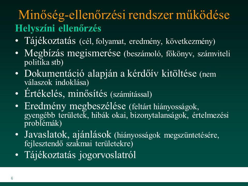 """MKVK MEB 2007 7 Minőség-ellenőrzési rendszer működése Lezárás  Jogorvoslat (fellebbezések)  Vizsgálati dokumentáció alapján az ellenőrzés lezárása határozattal  Következmények, szankciók Kötelezés továbbképzésre (csak """"nem felelt meg minősítés esetén) Fegyelmi eljárás kezdeményezése (csak meghatározott esetekben)"""